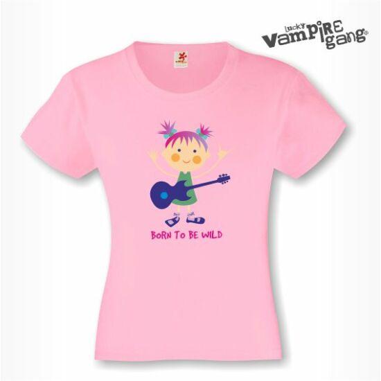 Rövid ujjú gyerek póló - Lány gitárral