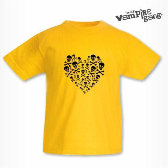 Rövid ujjú gyerek póló - Koponya szív