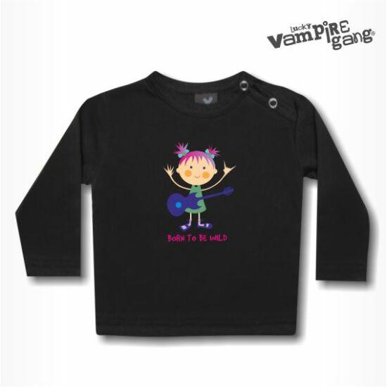 Hosszú ujjú gyerek póló - Lány gitárral