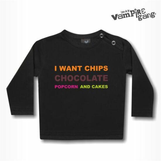 Hosszú ujjú gyerek póló - Rágcsát akarok!