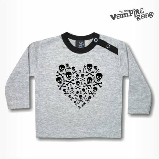 Hosszú ujjú gyerek póló - Koponya szív