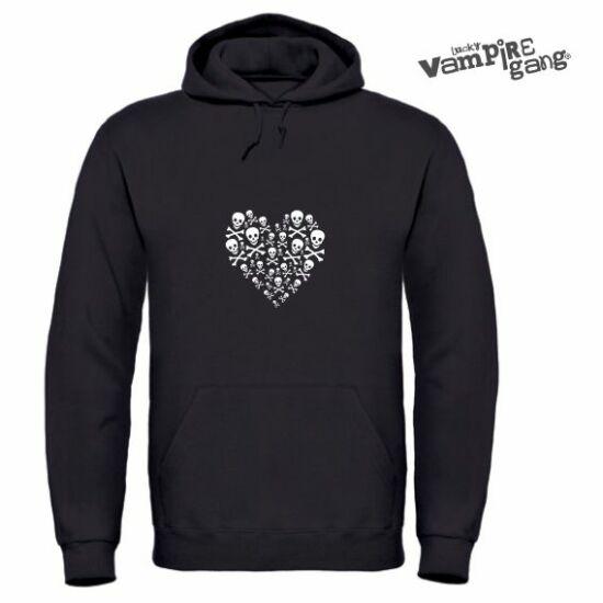 Kapucnis, bebújós unisex pulóver - Koponya szív