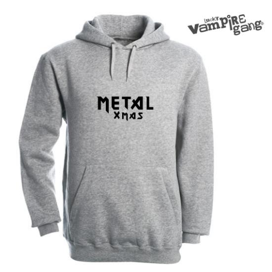Kapucnis, bebújós unisex pulóver - Metal Xmas