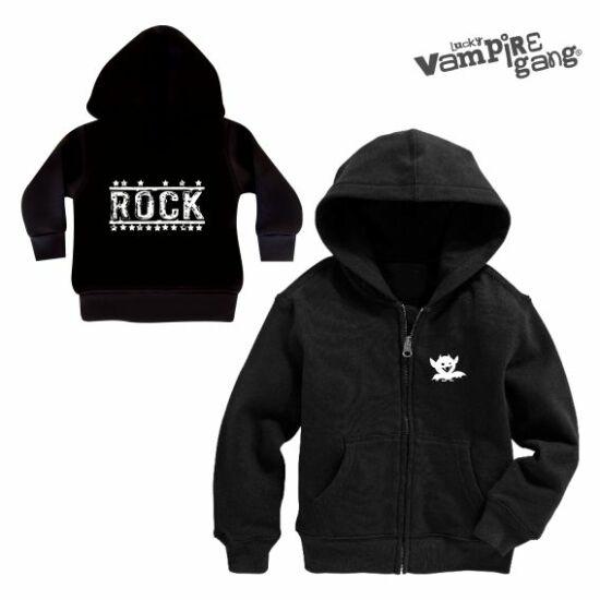 Kapucnis cipzáros baba pulóver - Rock
