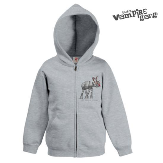 Kapucnis cipzáros gyerek pulóver - Xmas Walker