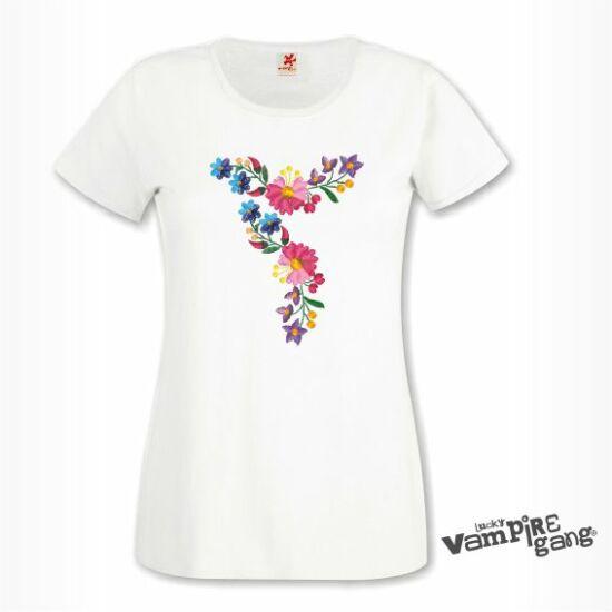 Rövid ujjú női póló - Kalocsai minta