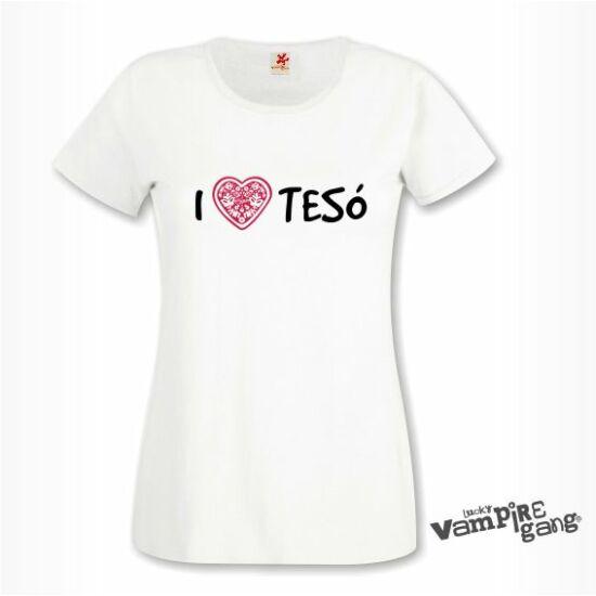 Rövid ujjú női póló - I love TESÓ - Saját felirattal is!