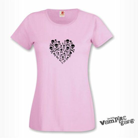 Rövid ujjú női póló - Koponya szív