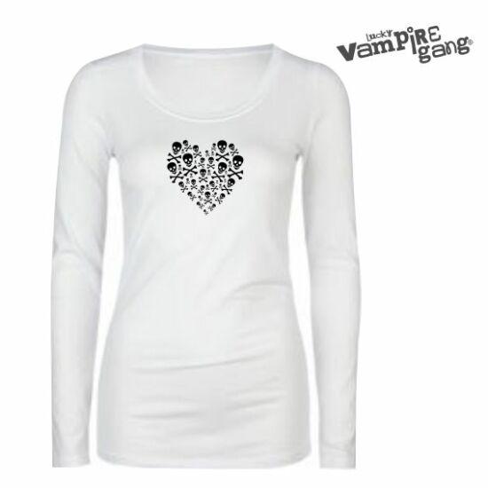 Hosszú ujjú női póló - Koponya szív