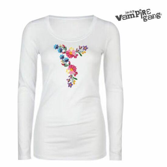 Hosszú ujjú női póló - Kalocsai minta