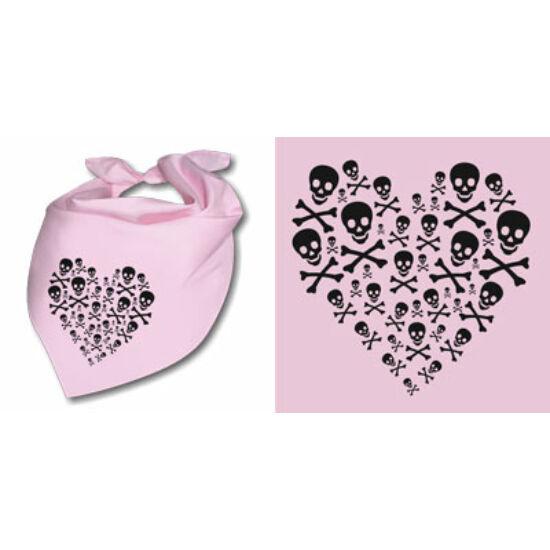 Nyálfogó kendő - Koponya szív